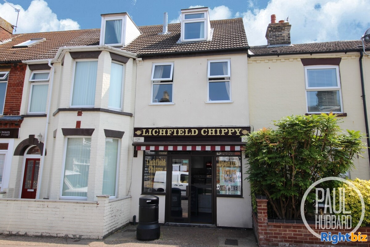Freehold Fish & Chip Shop with 3 bedroom maisonette for sale in Great Yarmouth, Norfolk. - Image 1